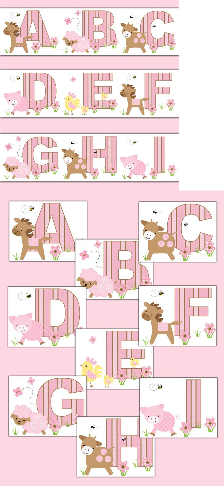 Wallpaper Borders 37636: Farm Animal Nursery Pink Barnyard Alphabet Wallpaper Border Wall Decals Stickers -> BUY IT NOW ONLY: $50 on eBay!