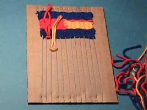 ▶ Weaving on a Cardboard Loom - YouTube