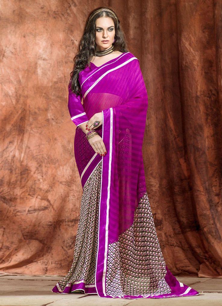 Sari indien Versatile travaillé dentelle pas cher - Avena sari