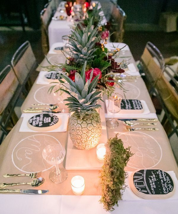 Elegant Tablescape With Kraft Paper Place Setting   Photo By Bamber  Photography Http:// · Tropical Wedding CenterpiecesTable ...