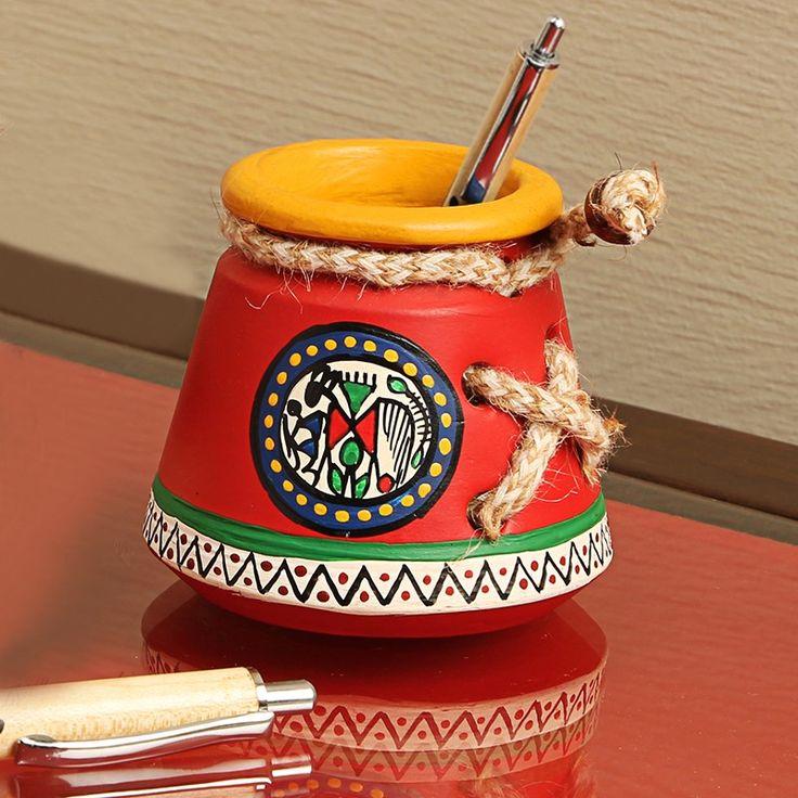 Terracotta Warli Handpainted Pen Stand Knitted Red | #simple #Decor #DeskAccessories #simple, #Decor, #DeskAccessories,