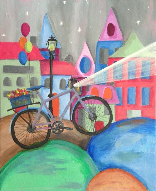 Retro Bicycle, Original Acrylic Painting on Canvas, 50x40 cm (19.68 x 15.75 inches),  Colorful Art, Kids Art, Wall Art, Bike on Etsy, 90,00 €