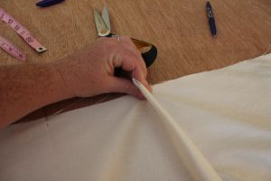 relaxed Roman shade with center pleat - Part Two