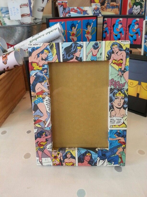 another DIY Wonder Woman collage frame.  so cool and easy to replicate for your mom this Mother's Day!