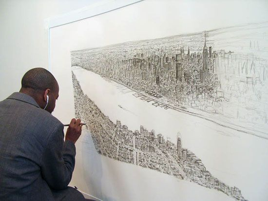 stephen wiltshire draws manhattan skyline from memory after a 20 minute heliocopter ride over Manhatten