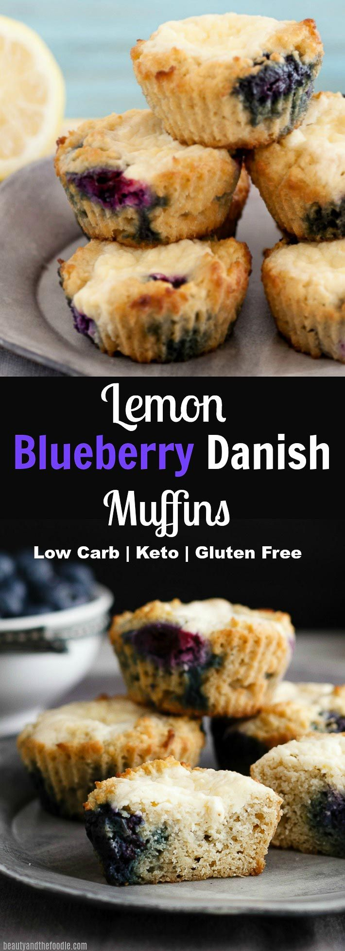 A low carb gluten free lemon berry muffin with a cheese danish filling.