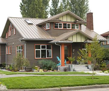 74 best images about metal roofs on pinterest roofing for Metal roof craftsman home