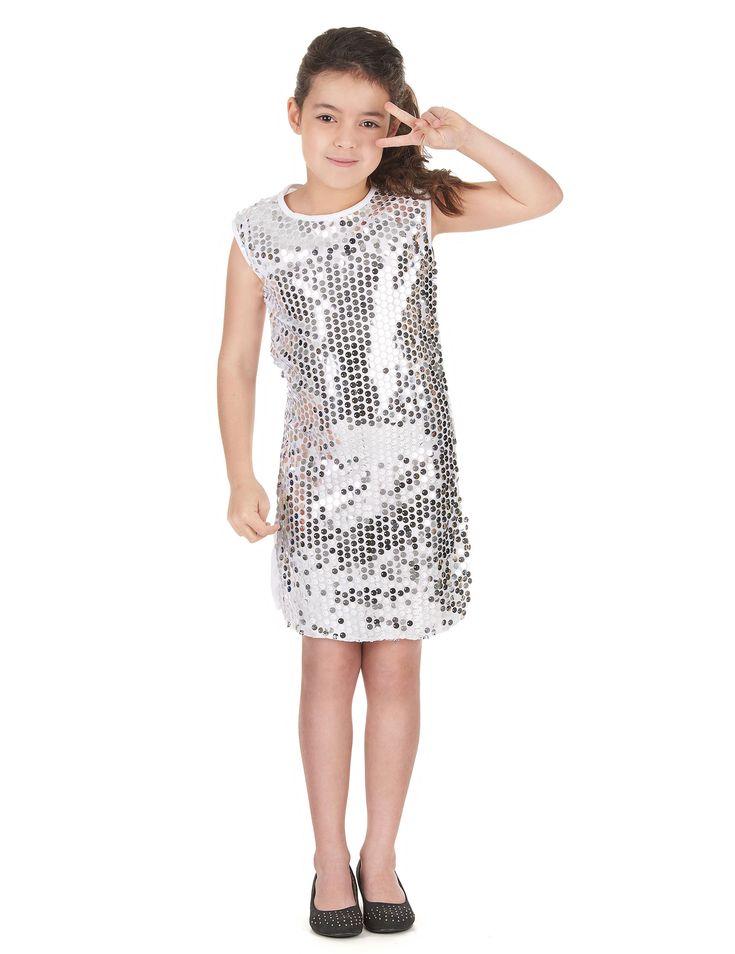 Verkleedkostuum voor meisjes Disco zilverkleurig Carnvaloutfit online verkrijgbaar bij de feestwinkel Vegaoo.nl aan de meest voordelige prijs.