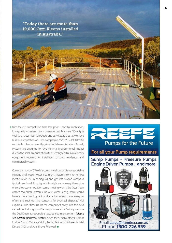 """P.4. """"Today there are more than 19,000 Ozzi Kleens installed in Australia."""""""