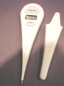 Talking Clinical Thermometer for the Blind  by Active Products Plus. $11.82. Batteries Included. Clinical Thermometer. LCD and Audio temperature announcement. Talking. Fast response to body temperature. Talking Clinical Thermometer  Lowest Price on the Market Today!  This talking clinical thermometer incorporates solid state technology and is accurate to within 0.3 degrees in a temperature range of 90 degrees to 109.9 Fahrenheit.