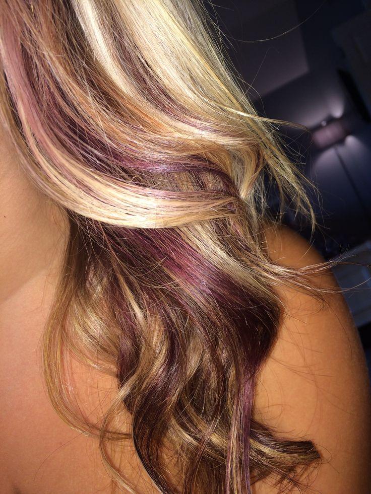 Red violet peekaboos with blonde.