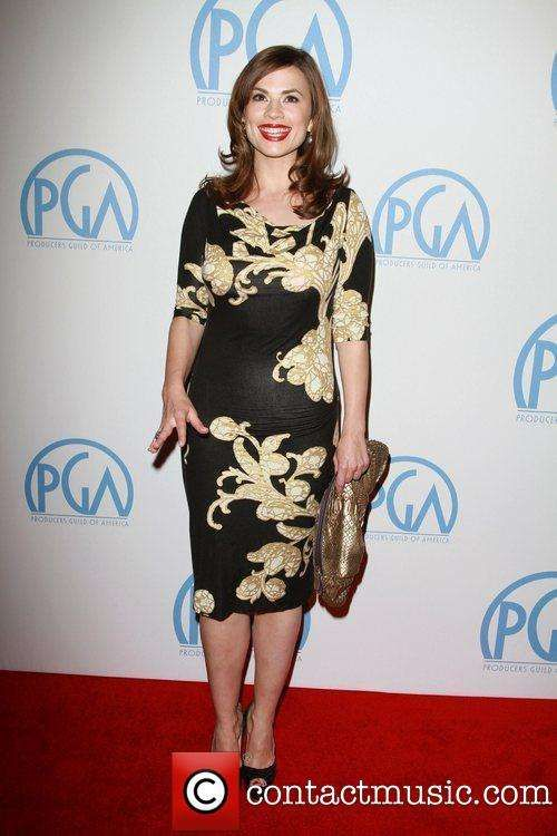 Hayley Atwell in Printed Shirt Dress