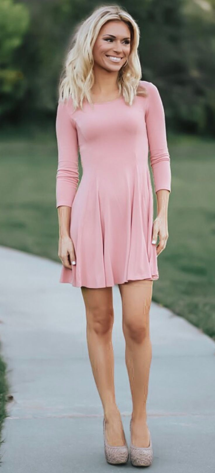 pink long-sleeved dress #spring #outfits