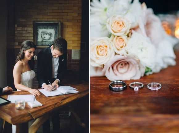 Although the bride's bouquet can't be seen in these photos, it was such a lovely and well-photographed wedding that I had to share!