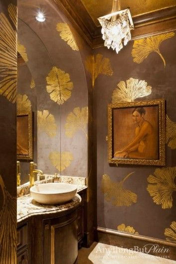 A DIY stenciled bathroom using the Chinese Ginkgo Leaf Stencil from Cutting Edge Stencils. http://www.cuttingedgestencils.com/ginkgo-stencil-kim-myles.html