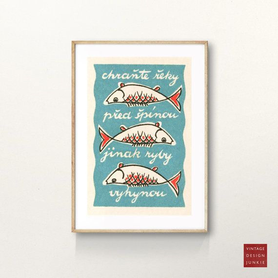 High quality reproduction giclée print of a classic vintage 1950s Czechoslovakian matchbox label.  The design originates from a tiny matchbox label measuring 35 x 50mm. It has been scanned at high resolution and restored to its former glory.  The words in the design read Protect the river from dirt, otherwise the fish will become extinct or in Czechoslovakian Chránte řeky před špinou jinack ryby vyhynou.  All Vintage Design Junkie prints and posters are printed on high quality acid free…