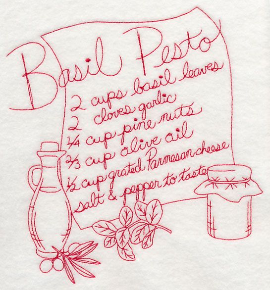 A Redwork Design For The Basic Ingredients In Basil Pesto. Perfect For  Spicing Up Any Kitchen Décor Project! Part 59