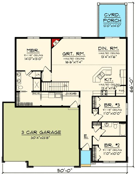 Classic Craftsman Ranch House Plan - 89908AH | 1st Floor Master Suite, CAD Available, Craftsman, Narrow Lot, Northwest, PDF, Ranch, Split Bedrooms | Architectural Designs