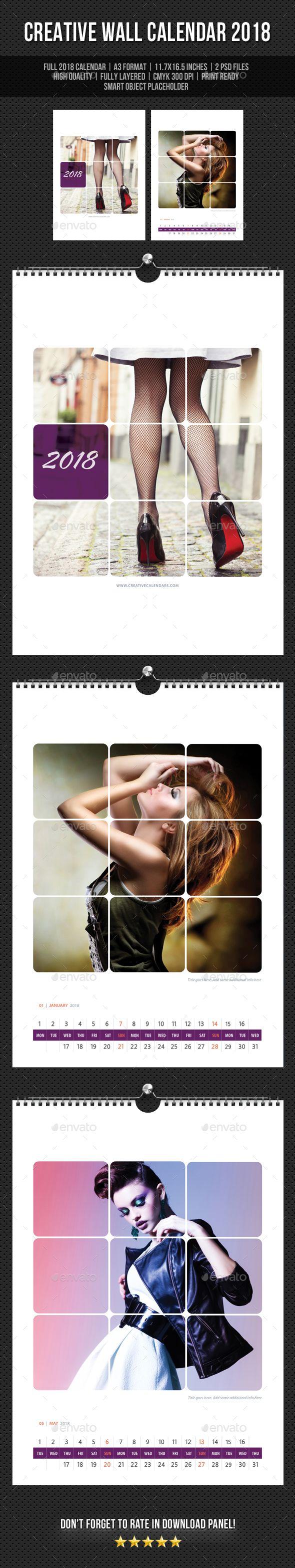 #Creative #Wall #Calendar #template #2018 V18 - Calendars Stationery #design. download: https://graphicriver.net/item/creative-wall-calendar-2018-v18/20283324?ref=yinkira