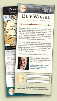 Night by Elie Wiesel Bookmark, teacher's guide, student's guide and more.
