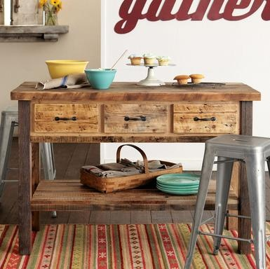 Rustic Kitchen Island With Various Vintage Design