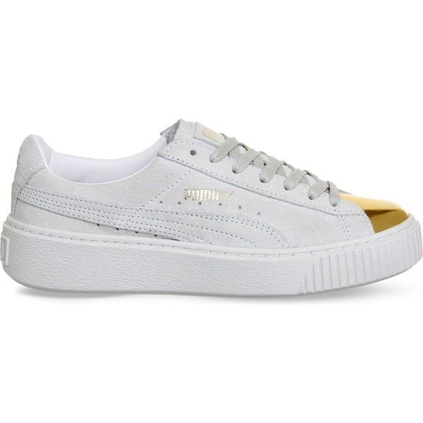 PUMA Gold-toe suede platform trainers ($98) ❤ liked on Polyvore featuring shoes, sneakers, grey gold toe white, white trainers, grey shoes, flatform sneakers, white sneakers and grey sneakers