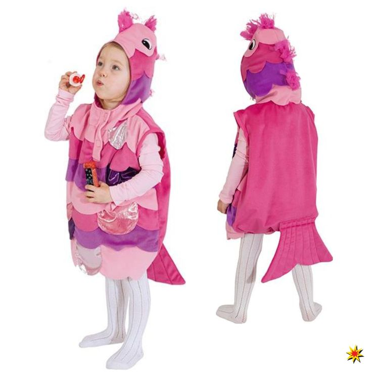 Kostüm pinker Fisch für Kinder Gr. 104 für Mädchen zum Kinderfasching