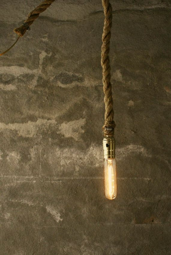 Chandelier Lighting Rustic Wedding Lighting Industrial Hanging Light Hanging Lamp - Rustic Rope Design