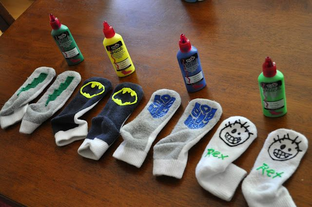 Easy to do Gripper socks.Tulip Slick Paints and started drawing all over the back of  socks.