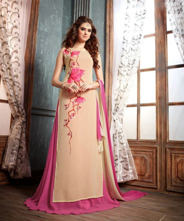#Semi Stitched #Cream And #Pink Georgette #Sharara #Suit #nikvik  #usa #designer #australia #canada #freeshipping #suits #pakistani