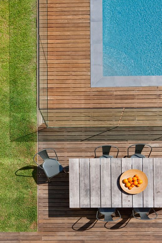 Decking around the pool and pool fence