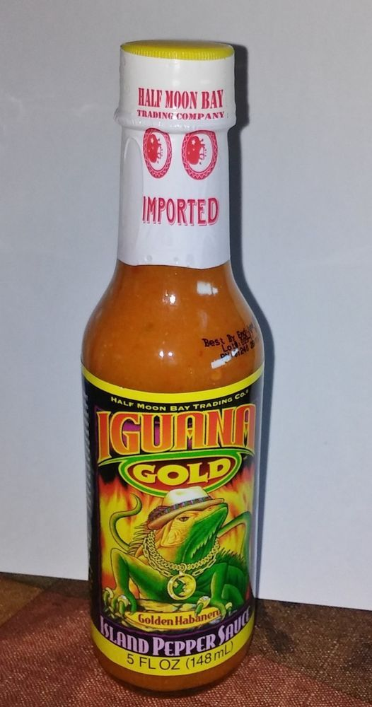 Iguana Gold Island Pepper Hot Sauce 5 oz Golden Habanero Half Moon