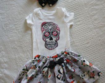 Olivia Paige – Little sugar cranium rockabilly punk rock outfit/ bodysuit tattoo skirt with headband