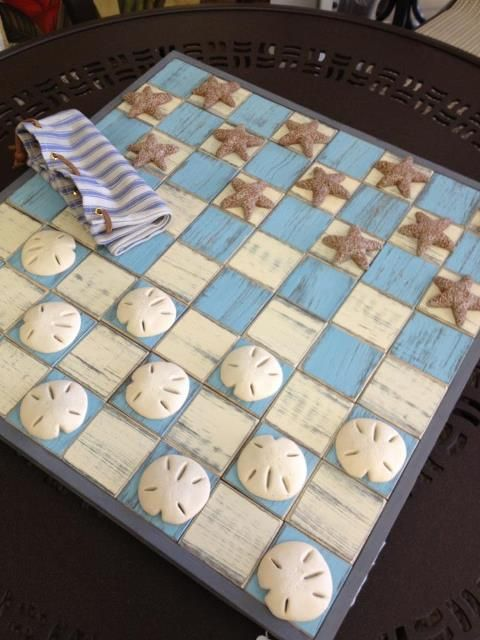 Great DIY easy to make for summer. Use different shells, etc. To make the different chess pieces. :)