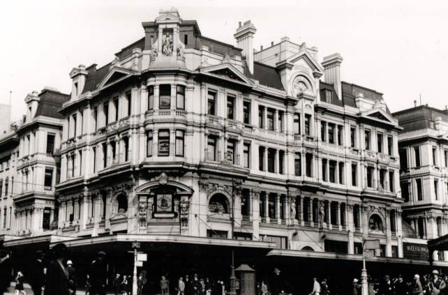 Queen Victoria Buildings: cnr Swanston and Collins Streets, MELBOURNE. Demolished 1965.