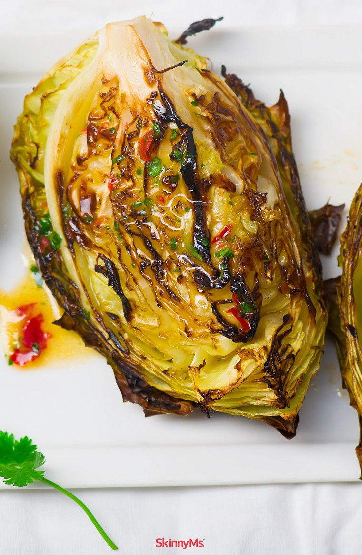 Spicy Roasted Cabbage Wedges! #easy #yummy #skinnyms