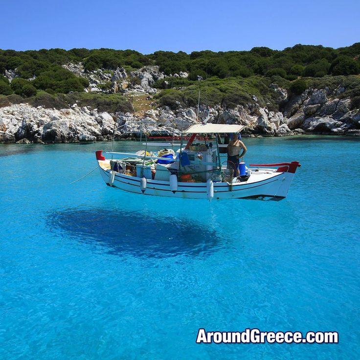 A floating fishing boat on the beautiful Greek island of Skyros  #Skyros #Greece #Greekislands #holidays #vacations #tourism #travel #Sporades #blue #turquoise #sea #fishingboat #Σκυρος #Ελλαδα #διακοπες #ταξιδι #aroundgreece #visitgreece