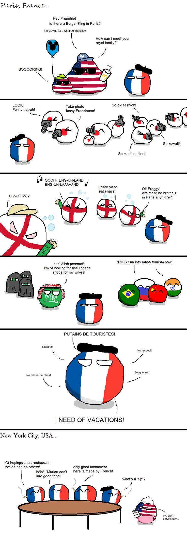 """Tourists and Frenchmen... and Frenchmen Tourists"" ( France, USA, Japan, England, Saudi Arabia ) by Martel First #polandball #countryball"