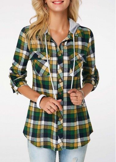 a730350a2b1 Roll Tab Sleeve Plaid Print Hoodie on sale only US 35.29 now