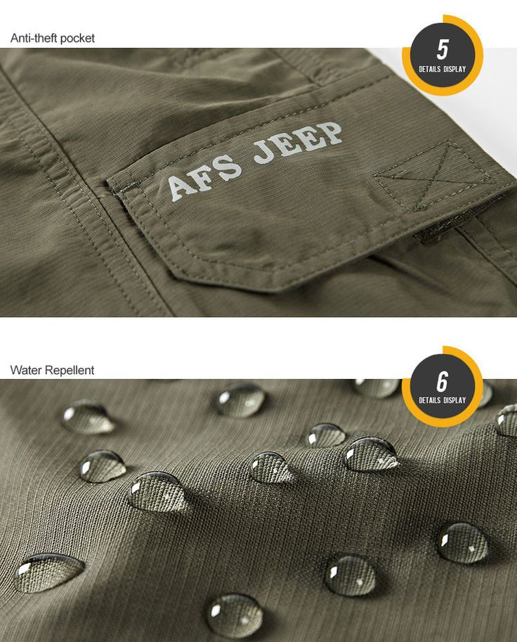 AFSJEEP Summer Mens Cargo Shorts Water-repellent Breathable Loose Casual Shorts