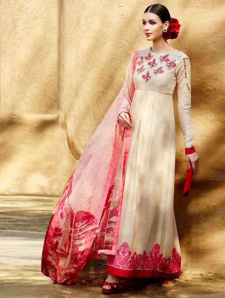 Bedazzling Beige & Pink Embroidered Designer Salwar Kameez