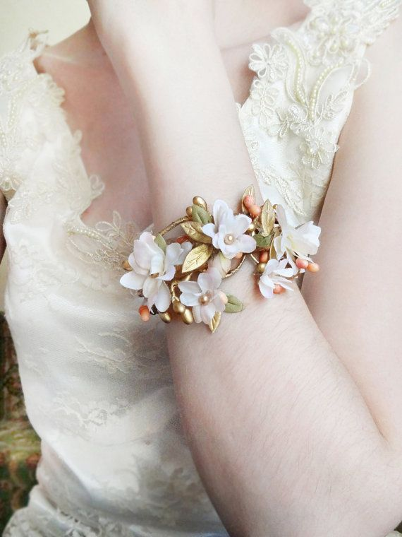 bridal cuff, bridal corsage, cuff bracelet, bridesmaid corsage wrist, floral jewelry, pink and gold wedding, bridal jewelry, peach wedding