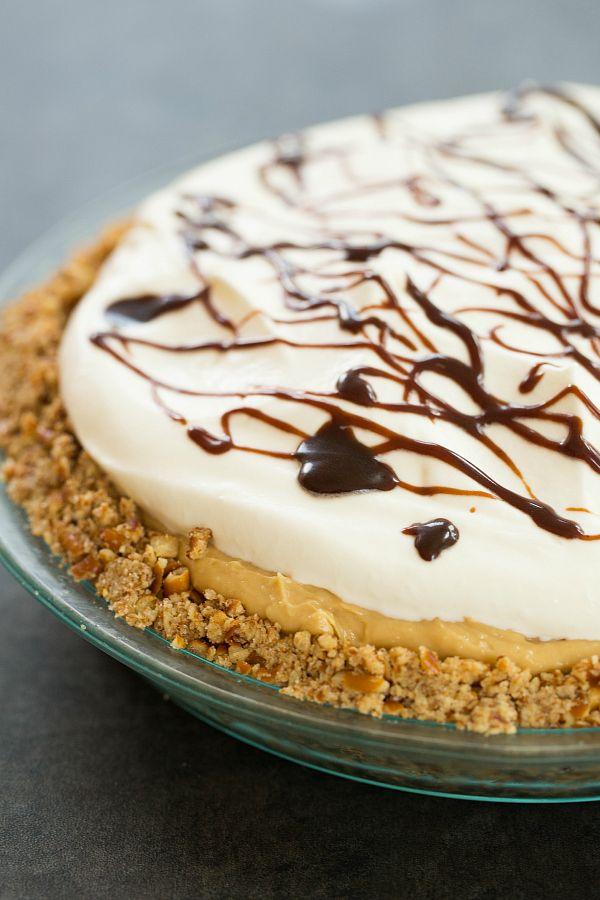 Chocolate-Peanut Butter Banana Cream Pie with Pretzel Crust | browneyedbaker.com #recipe