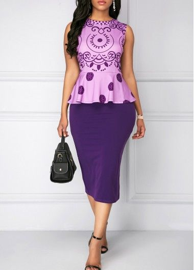 Printed Purple Top and Back Slit Skirt | Rosewe.com - USD $35.06
