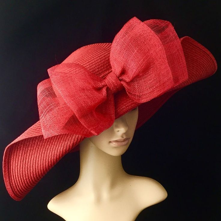 RED Church Kentucky Derby Hat with Sinamay Bow Wide Brim Dress Wedding Tea #Handmade #ChurchDress #Party