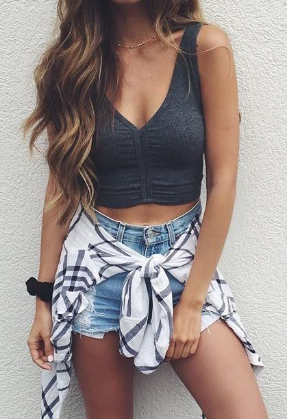 Try this super casual look with high wasted jean shorts, crop top tank, and a white striped flanneled tied to your waist!
