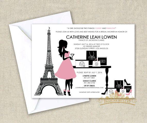 Sassy Cocktail Paris Shopping - Parisian Fashion Bridal Shower Invitation - Wedding Shower Invitation Cards with Free Envelopes