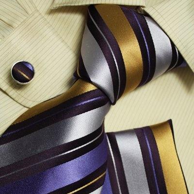 Purple stripes men neck ties gold stripes