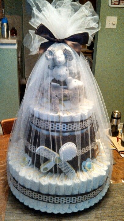 Diaper cake by Me. :o) (Made for Beth)