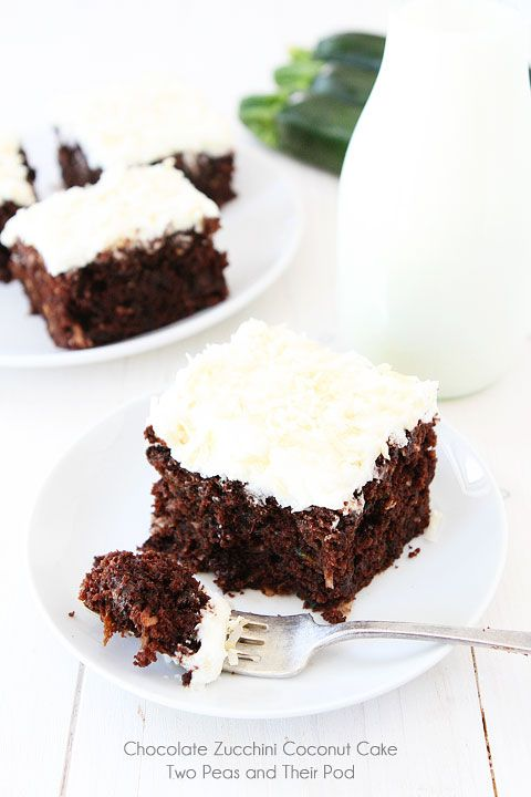 Chocolate Zucchini Coconut Cake with Coconut Frosting on twopeasandtheirpod.com LOVE this decadent cake! #recipe #cake #zucchini